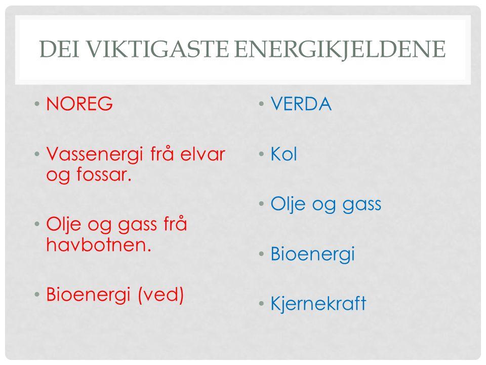 DEI VIKTIGASTE ENERGIKJELDENE NOREG Vassenergi frå elvar og fossar.