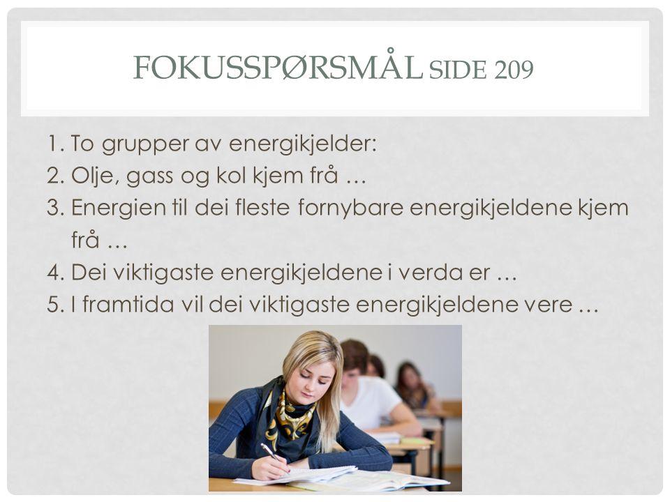 FOKUSSPØRSMÅL SIDE 209 1. To grupper av energikjelder: 2.