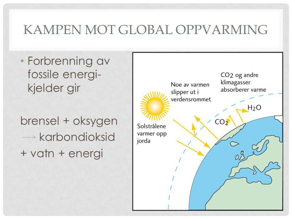 KAMPEN MOT GLOBAL OPPVARMING Forbrenning av fossile energi- kjelder gir brensel + oksygen karbondioksid + vatn + energi