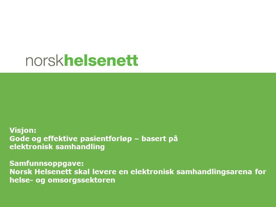 Visjon: Gode og effektive pasientforløp – basert på elektronisk samhandling Samfunnsoppgave: Norsk Helsenett skal levere en elektronisk samhandlingsarena for helse- og omsorgssektoren