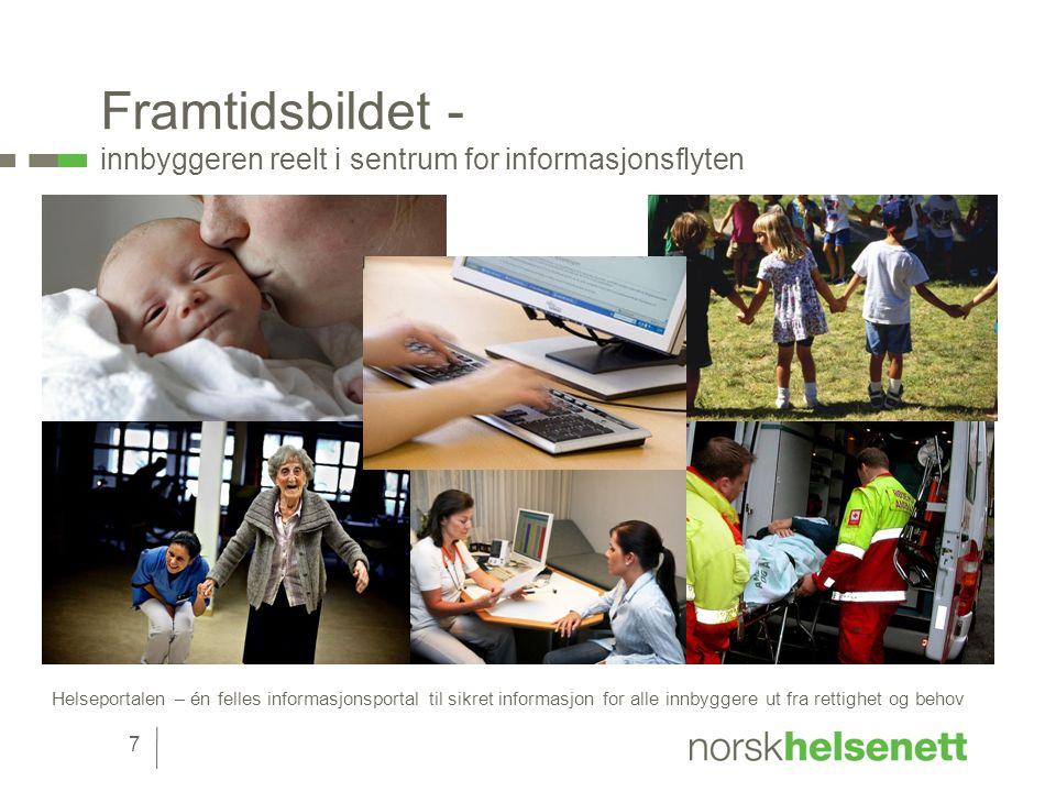Framtidsbildet - innbyggeren reelt i sentrum for informasjonsflyten Helseportalen – én felles informasjonsportal til sikret informasjon for alle innbyggere ut fra rettighet og behov 7
