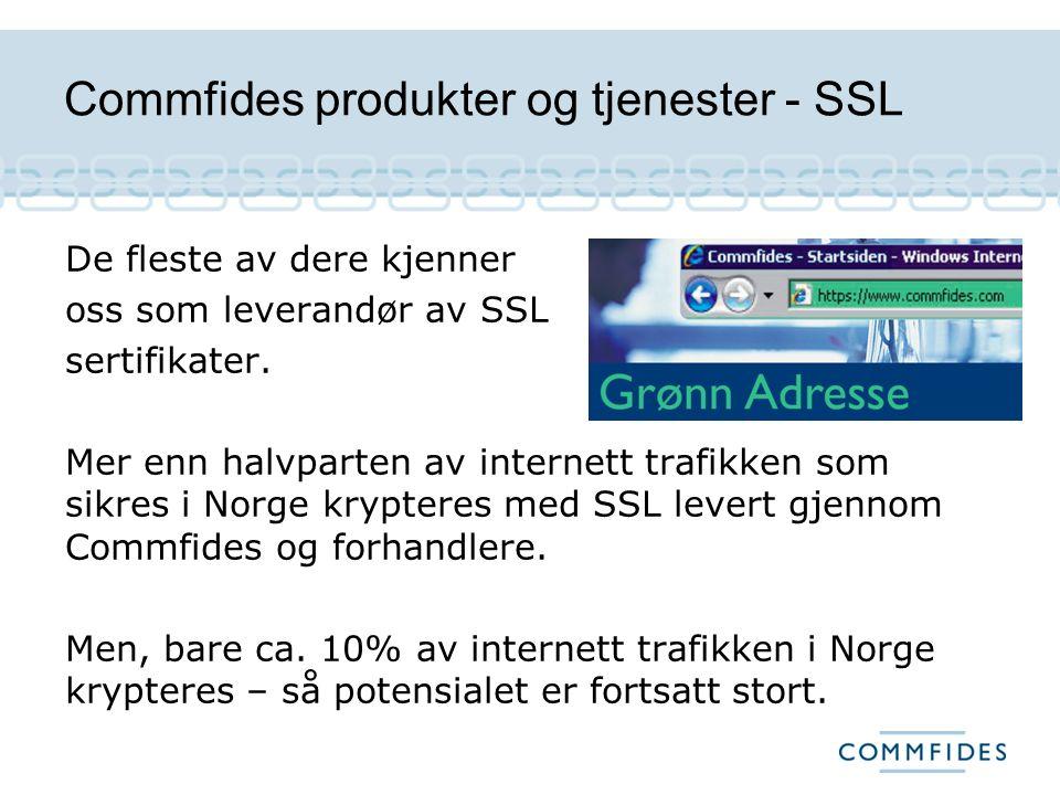 Commfides produkter og tjenester, e-ID e-ID for alle formål Personlig e-ID Virksomhetssertifikater Ansattsertifikater Commfides Incognito Commfides Kryptert e-post Signeringsporten.no Commfides LRA