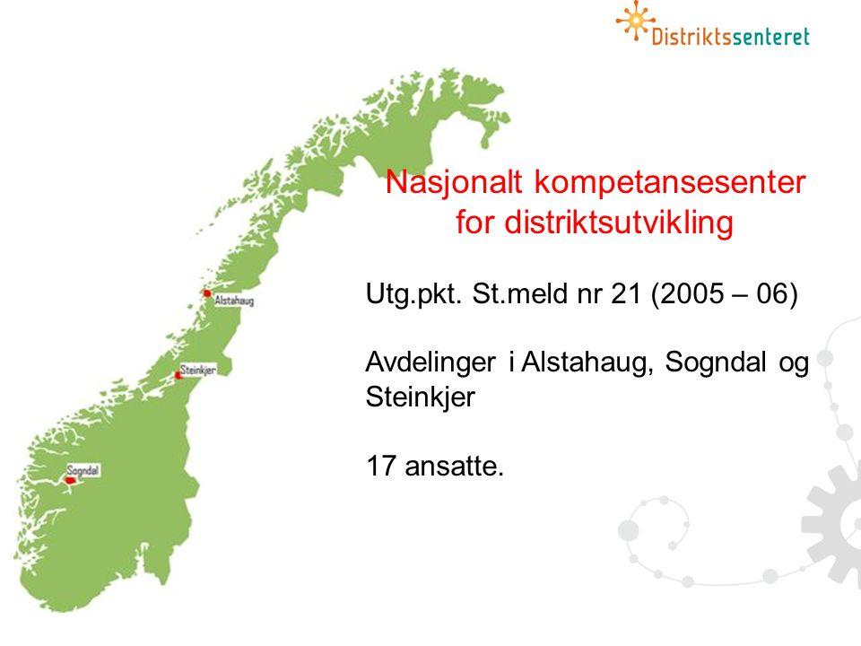 Nasjonalt kompetansesenter for distriktsutvikling Utg.pkt.