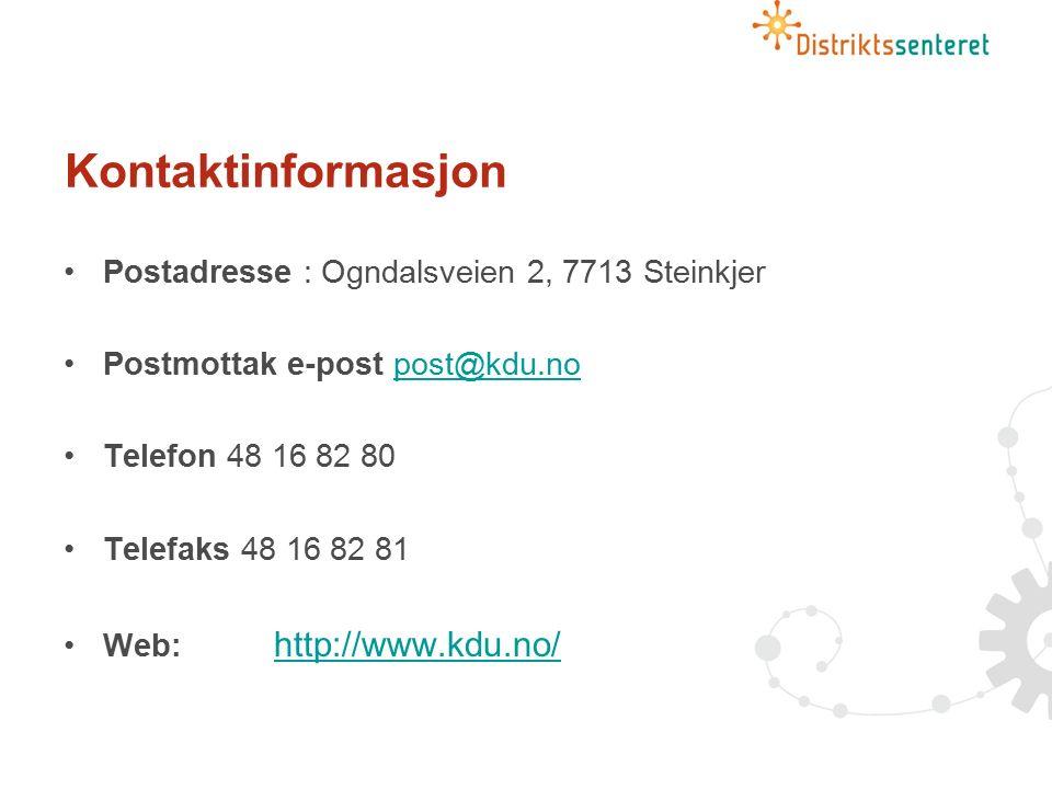 Kontaktinformasjon Postadresse : Ogndalsveien 2, 7713 Steinkjer Postmottak e-post post@kdu.nopost@kdu.no Telefon 48 16 82 80 Telefaks 48 16 82 81 Web: http://www.kdu.no/ http://www.kdu.no/