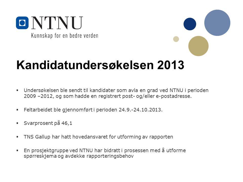 Kandidatundersøkelsen 2013  Undersøkelsen ble sendt til kandidater som avla en grad ved NTNU i perioden 2009 –2012, og som hadde en registrert post- og/eller e-postadresse.