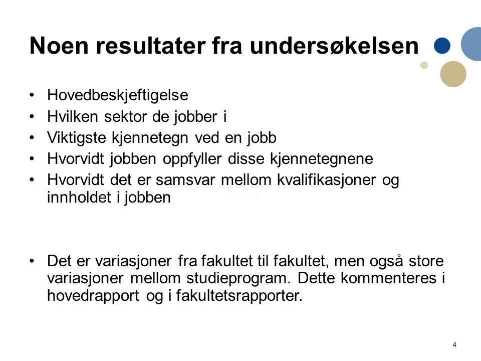 4 Noen resultater fra undersøkelsen Hovedbeskjeftigelse Hvilken sektor de jobber i Viktigste kjennetegn ved en jobb Hvorvidt jobben oppfyller disse kj