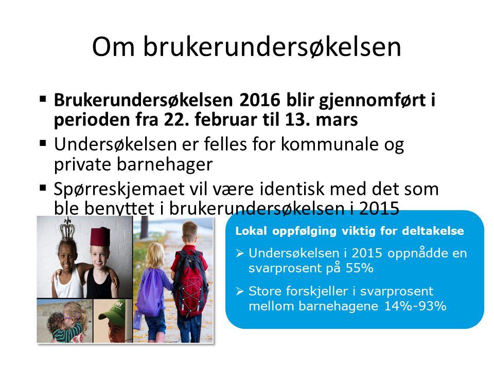 Om brukerundersøkelsen  Brukerundersøkelsen 2016 blir gjennomført i perioden fra 22.