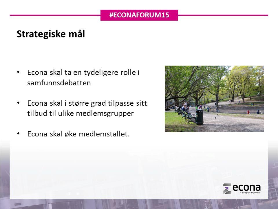 Strategiske mål Econa skal ta en tydeligere rolle i samfunnsdebatten Econa skal i større grad tilpasse sitt tilbud til ulike medlemsgrupper Econa skal øke medlemstallet.