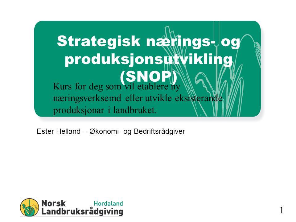 1 Strategisk nærings- og produksjonsutvikling (SNOP) Ester Helland – Økonomi- og Bedriftsrådgiver Kurs for deg som vil etablere ny næringsverksemd eller utvikle eksisterande produksjonar i landbruket.