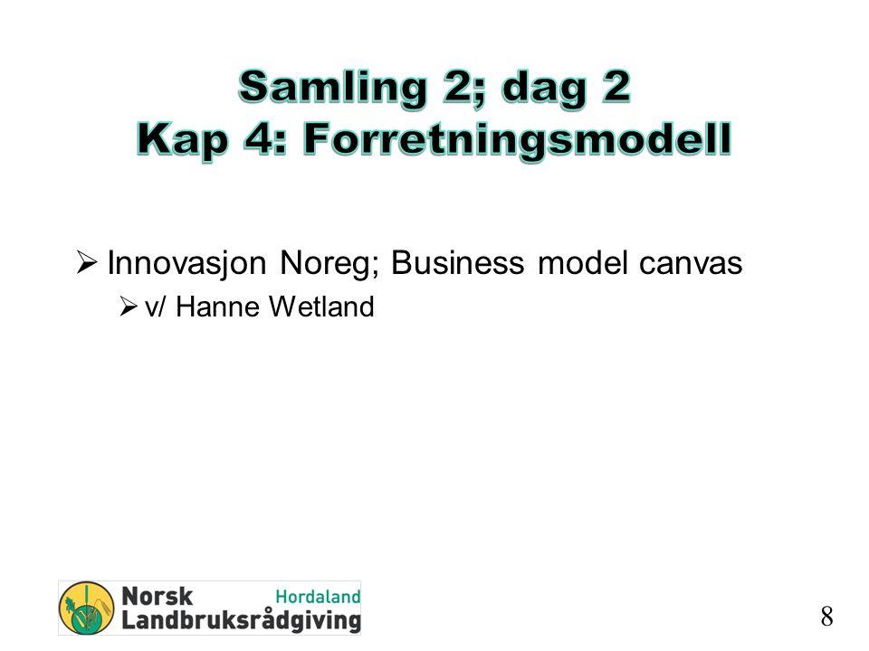  Innovasjon Noreg; Business model canvas  v/ Hanne Wetland 8
