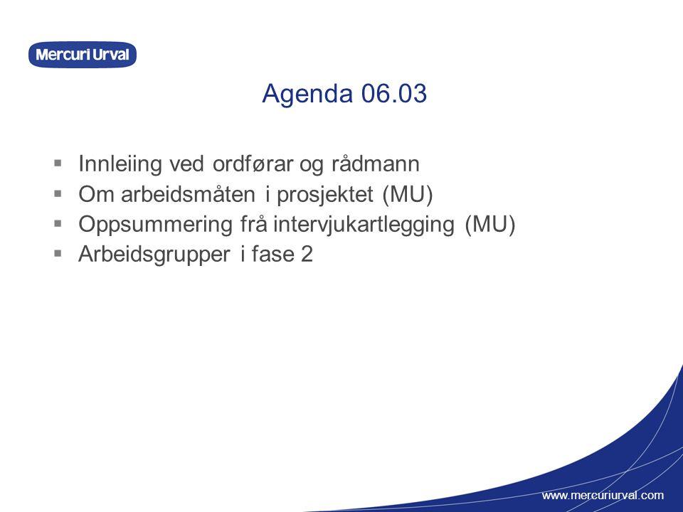 www.mercuriurval.com Agenda 06.03  Innleiing ved ordførar og rådmann  Om arbeidsmåten i prosjektet (MU)  Oppsummering frå intervjukartlegging (MU)  Arbeidsgrupper i fase 2