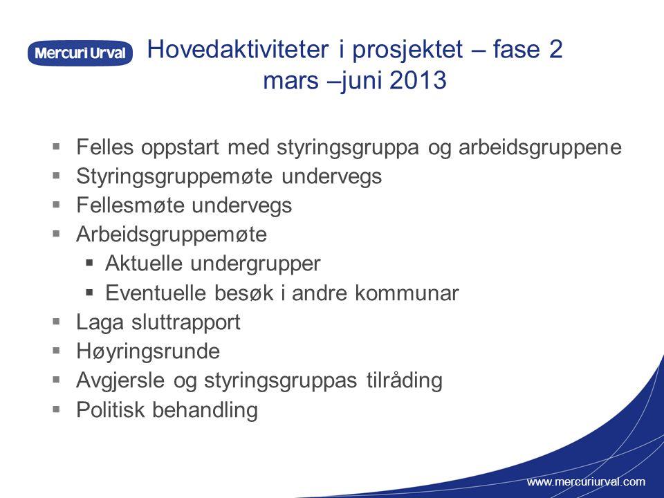 www.mercuriurval.com Hovedaktiviteter i prosjektet – fase 2 mars –juni 2013  Felles oppstart med styringsgruppa og arbeidsgruppene  Styringsgruppemø