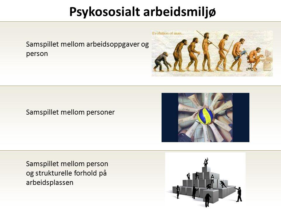 Psykososialt arbeidsmiljø Samspillet mellom arbeidsoppgaver og person Samspillet mellom personer Samspillet mellom person og strukturelle forhold på arbeidsplassen
