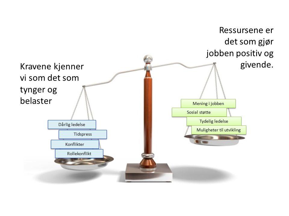 Kravene kjenner vi som det som tynger og belaster Dårlig ledelse Tidspress Konflikter Rollekonflikt Ressursene er det som gjør jobben positiv og givende.