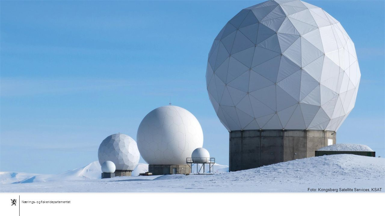 Nærings- og fiskeridepartementet Norsk mal:1 utfallende bilde Foto: Kongsberg Satellite Services, KSAT