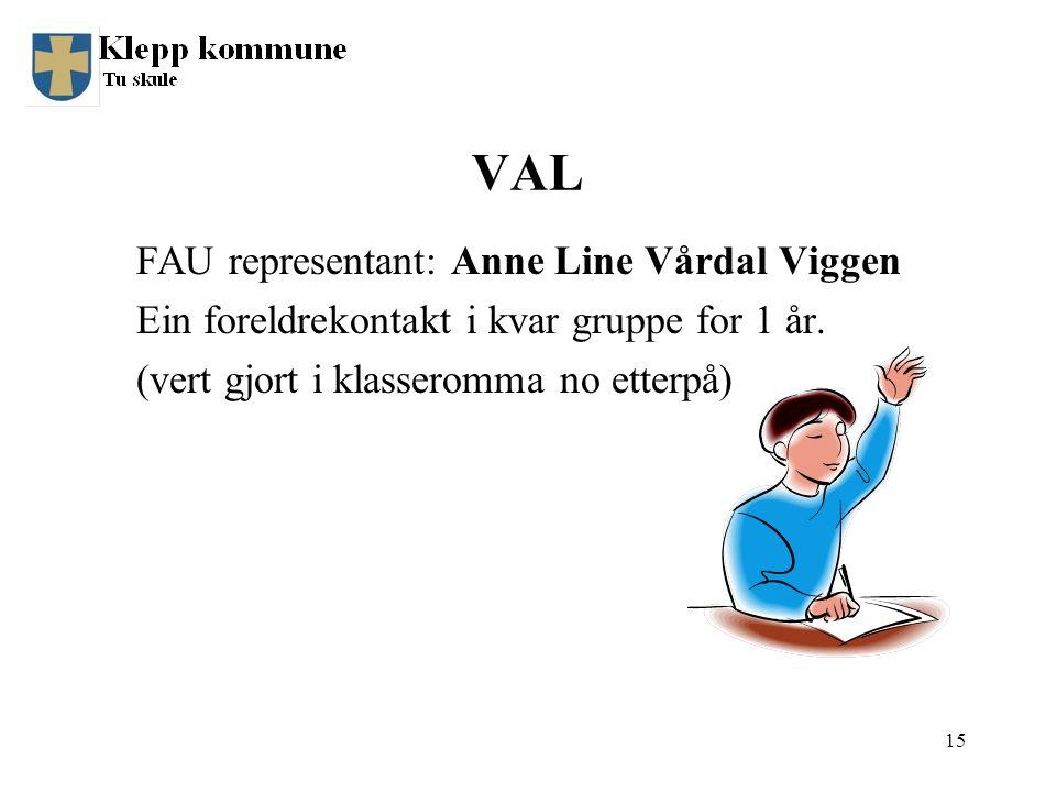 VAL FAU representant: Anne Line Vårdal Viggen Ein foreldrekontakt i kvar gruppe for 1 år.