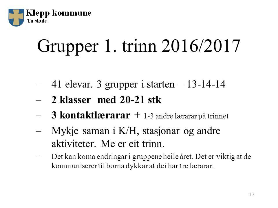 Grupper 1. trinn 2016/2017 –41 elevar.