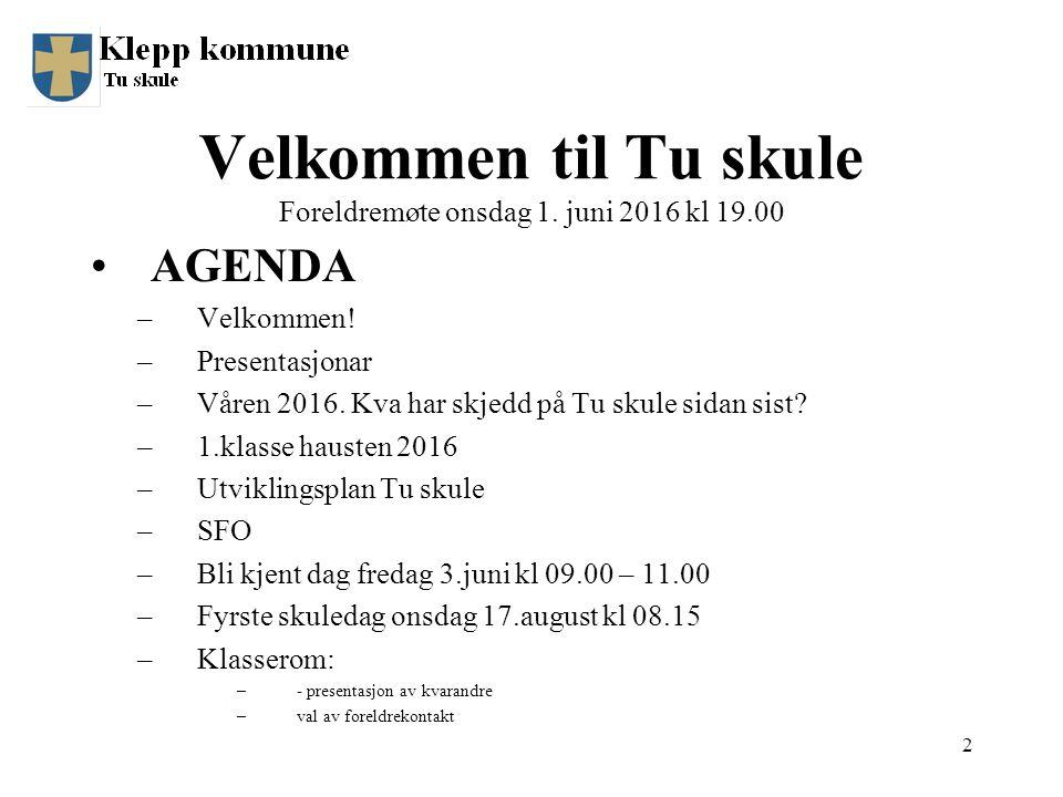 AGENDA –Velkommen.–Presentasjonar –Våren 2016. Kva har skjedd på Tu skule sidan sist.
