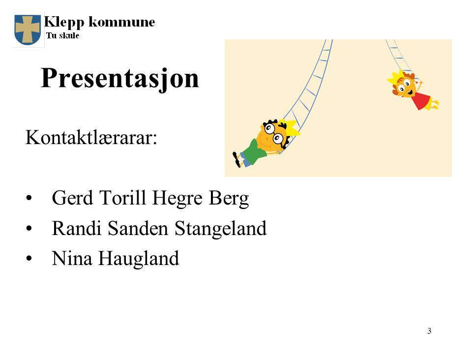 Presentasjon Kontaktlærarar: Gerd Torill Hegre Berg Randi Sanden Stangeland Nina Haugland 3
