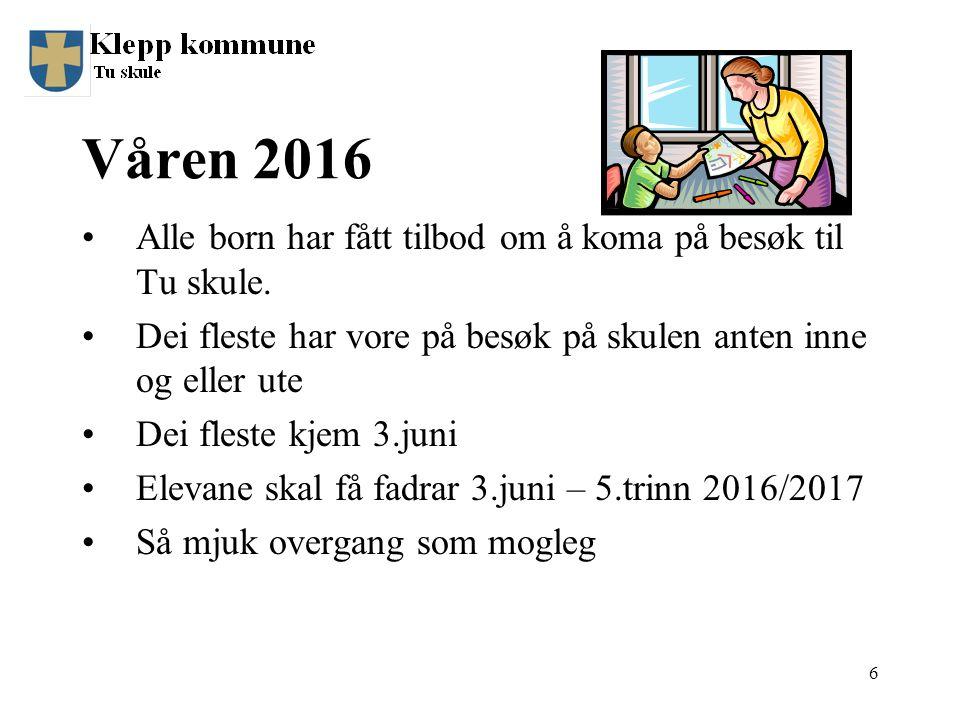 Våren 2016 Alle born har fått tilbod om å koma på besøk til Tu skule.