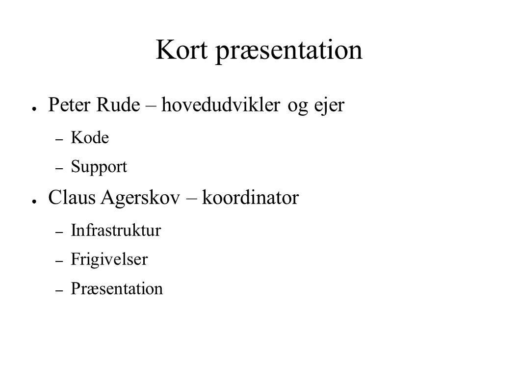 Kort præsentation ● Peter Rude – hovedudvikler og ejer – Kode – Support ● Claus Agerskov – koordinator – Infrastruktur – Frigivelser – Præsentation
