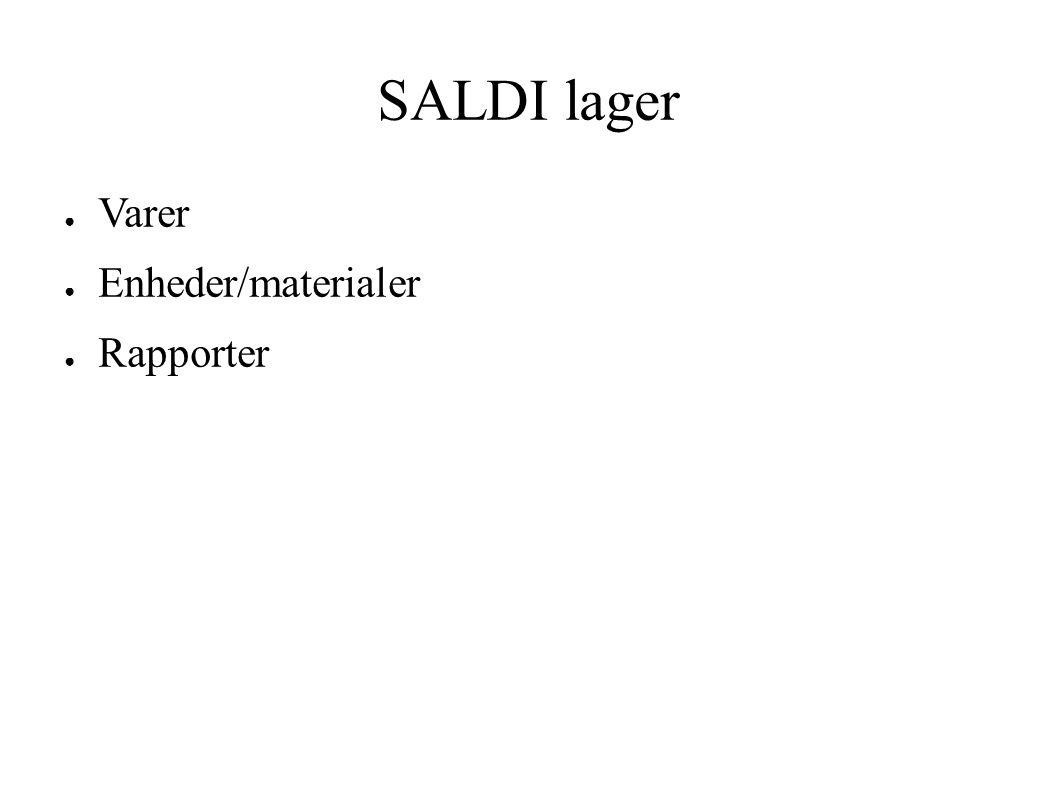 SALDI lager ● Varer ● Enheder/materialer ● Rapporter