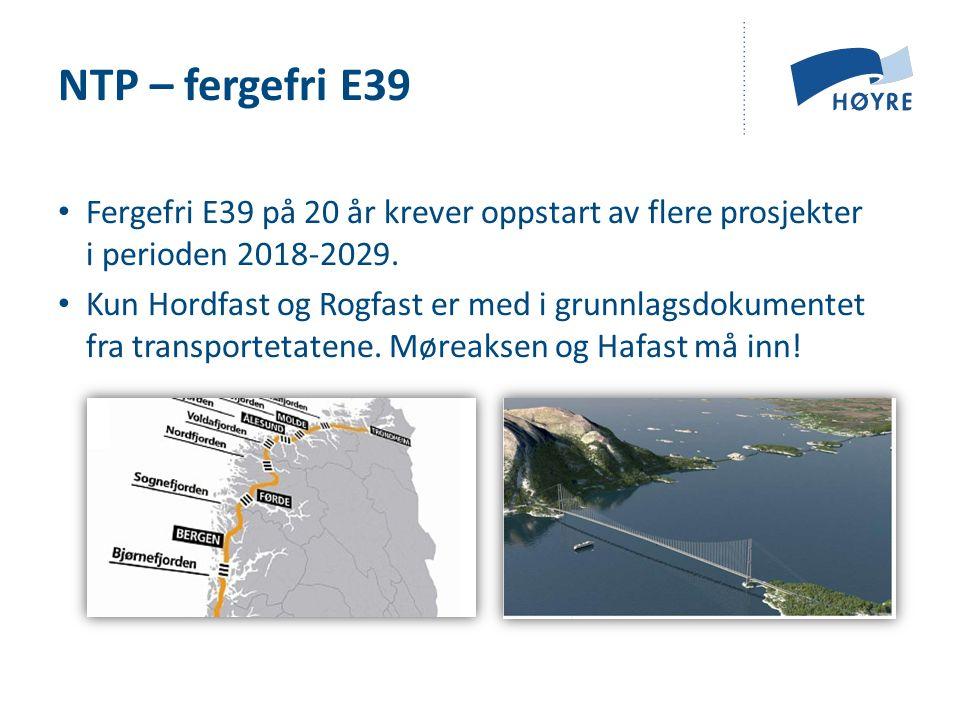Fergefri E39 på 20 år krever oppstart av flere prosjekter i perioden 2018-2029.