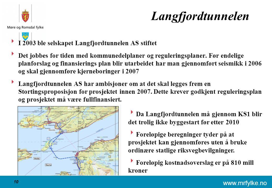 www.mrfylke.no 10 Langfjordtunnelen  I 2003 ble selskapet Langfjordtunnelen AS stiftet  Det jobbes for tiden med kommunedelplaner og reguleringsplaner.