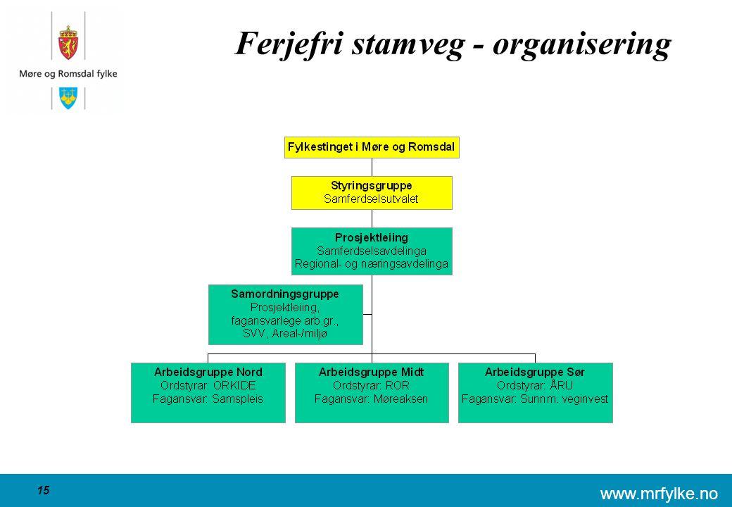 www.mrfylke.no 15 Ferjefri stamveg - organisering