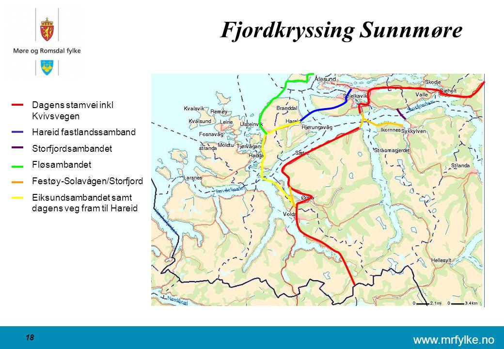 www.mrfylke.no 18 Fjordkryssing Sunnmøre Dagens stamvei inkl Kvivsvegen Hareid fastlandssamband Storfjordsambandet Fløsambandet Festøy-Solavågen/Storf