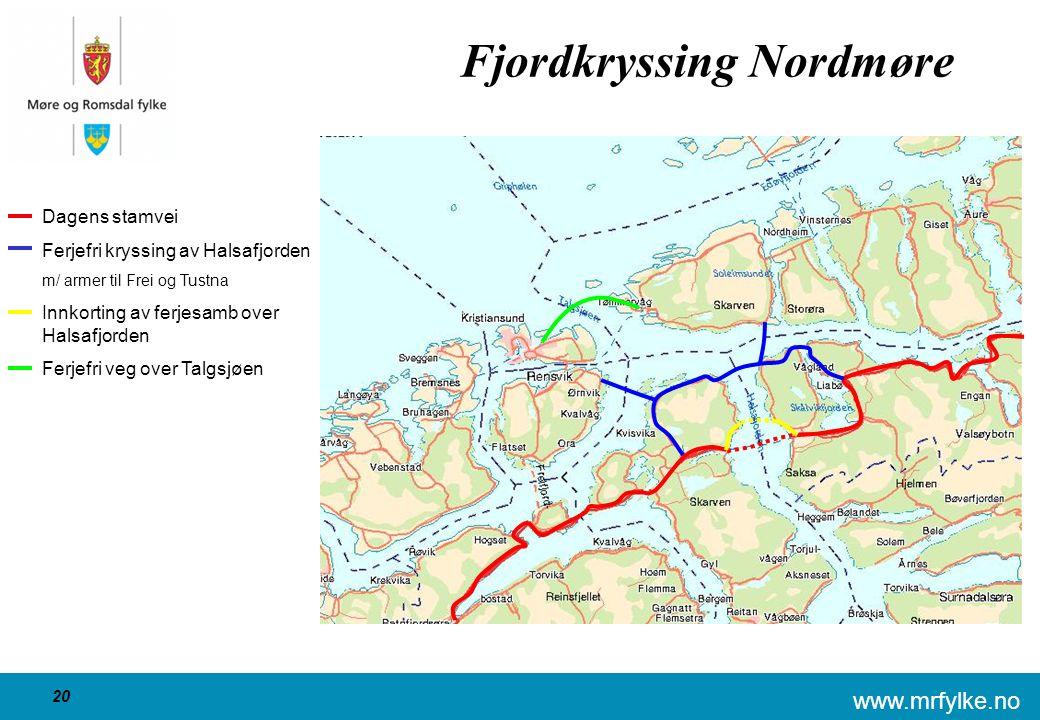 www.mrfylke.no 20 Fjordkryssing Nordmøre Dagens stamvei Ferjefri kryssing av Halsafjorden m/ armer til Frei og Tustna Innkorting av ferjesamb over Halsafjorden Ferjefri veg over Talgsjøen