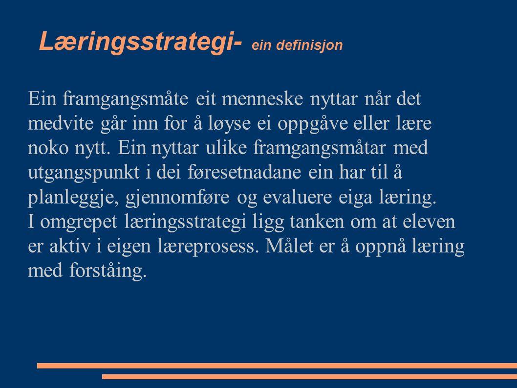 Læringsstrategi- ein definisjon Ein framgangsmåte eit menneske nyttar når det medvite går inn for å løyse ei oppgåve eller lære noko nytt.