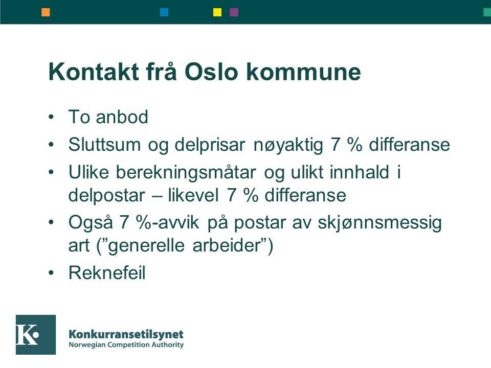 Kontakt frå Oslo kommune To anbod Sluttsum og delprisar nøyaktig 7 % differanse Ulike berekningsmåtar og ulikt innhald i delpostar – likevel 7 % differanse Også 7 %-avvik på postar av skjønnsmessig art ( generelle arbeider ) Reknefeil