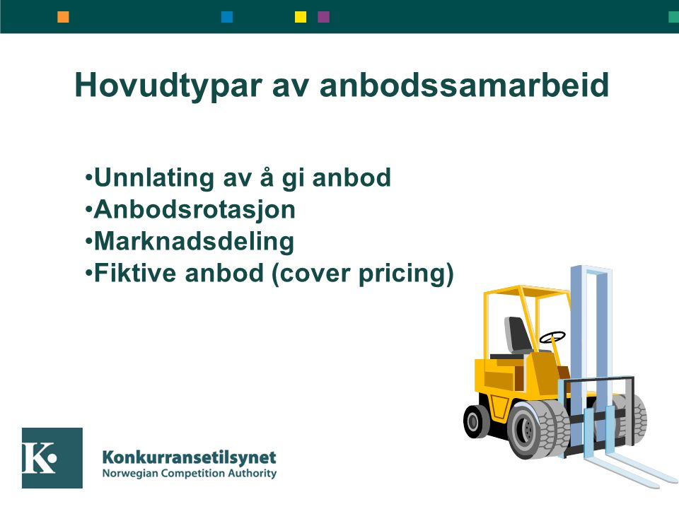Hovudtypar av anbodssamarbeid Unnlating av å gi anbod Anbodsrotasjon Marknadsdeling Fiktive anbod (cover pricing)