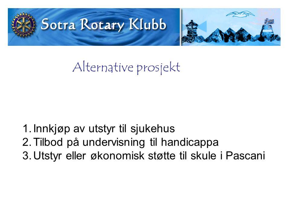 Alternative prosjekt 1.Innkjøp av utstyr til sjukehus 2.Tilbod på undervisning til handicappa 3.Utstyr eller økonomisk støtte til skule i Pascani