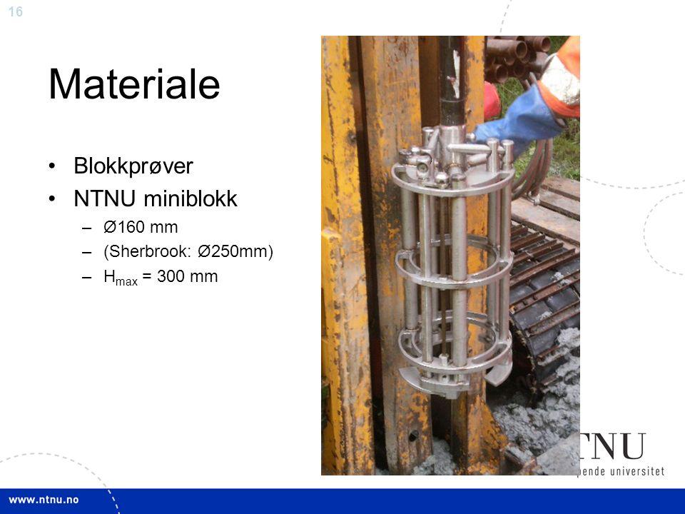 16 Materiale Blokkprøver NTNU miniblokk –Ø160 mm –(Sherbrook: Ø250mm) –H max = 300 mm