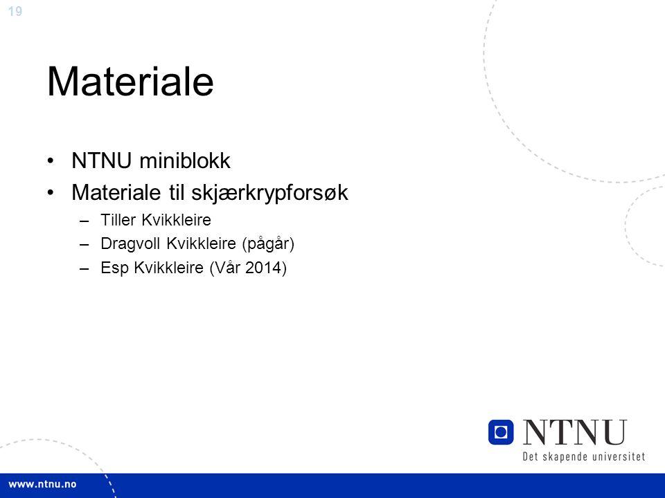 19 Materiale NTNU miniblokk Materiale til skjærkrypforsøk –Tiller Kvikkleire –Dragvoll Kvikkleire (pågår) –Esp Kvikkleire (Vår 2014)