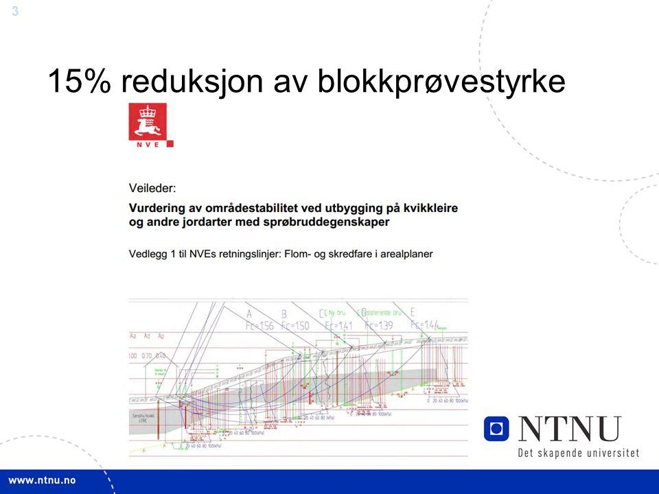 3 15% reduksjon av blokkprøvestyrke