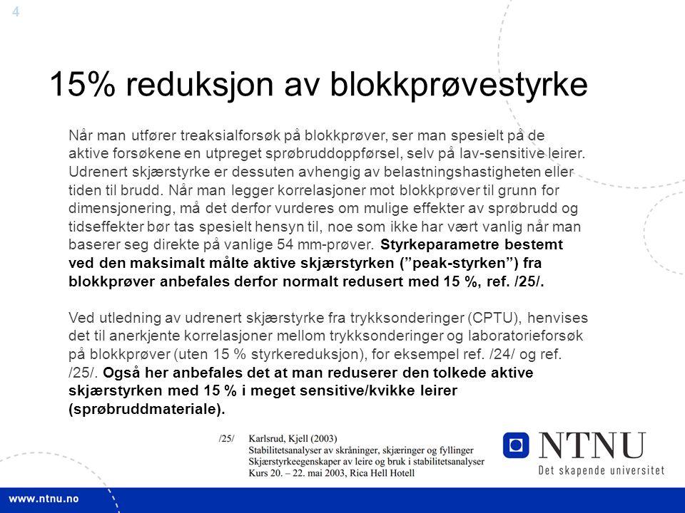 5 15% reduksjon av blokkprøvestyrke Blokkprøve CIUc treaks
