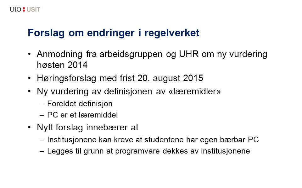 Forslag om endringer i regelverket Anmodning fra arbeidsgruppen og UHR om ny vurdering høsten 2014 Høringsforslag med frist 20. august 2015 Ny vurderi