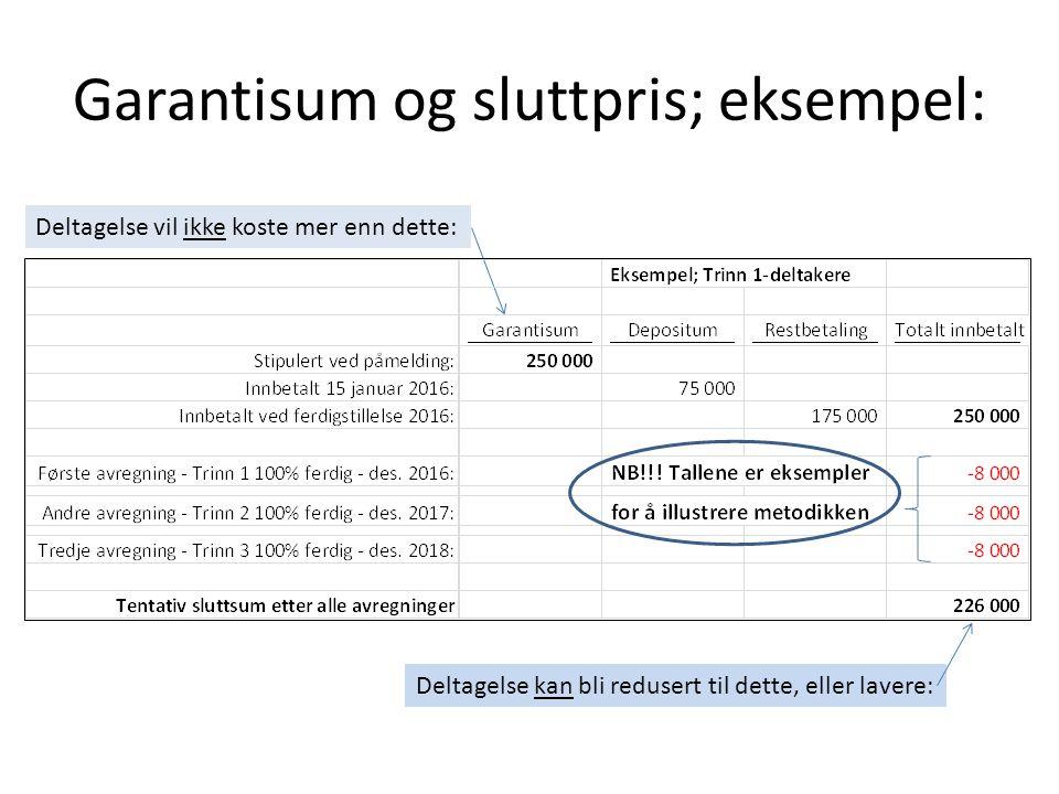 Garantisum og sluttpris; eksempel: Deltagelse vil ikke koste mer enn dette: Deltagelse kan bli redusert til dette, eller lavere: