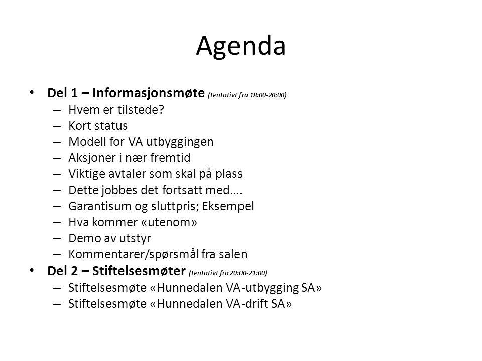 Agenda Del 1 – Informasjonsmøte (tentativt fra 18:00-20:00) – Hvem er tilstede.