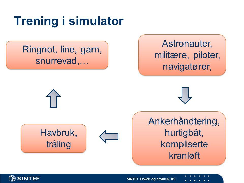 SINTEF Fiskeri og havbruk AS Trening i simulator Ankerhåndtering, hurtigbåt, kompliserte kranløft Astronauter, militære, piloter, navigatører, Havbruk, tråling Havbruk, tråling Ringnot, line, garn, snurrevad,…