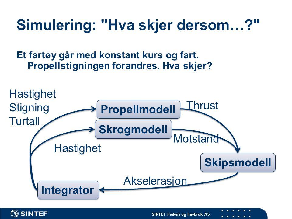 SINTEF Fiskeri og havbruk AS Simulering: Hva skjer dersom…? Et fartøy går med konstant kurs og fart.