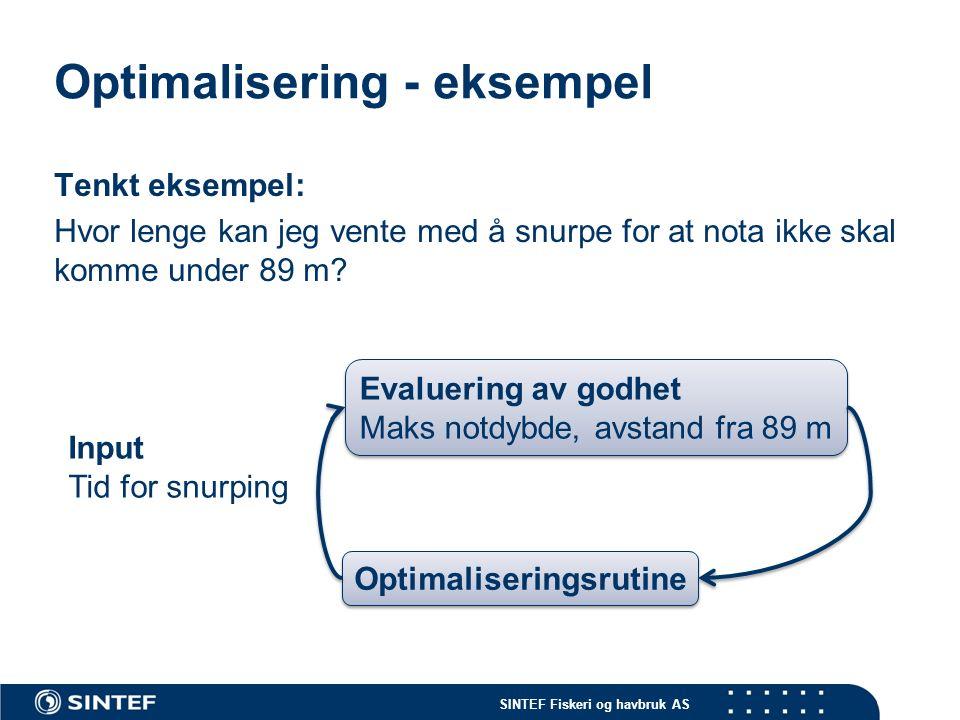SINTEF Fiskeri og havbruk AS Optimalisering - eksempel Tenkt eksempel: Hvor lenge kan jeg vente med å snurpe for at nota ikke skal komme under 89 m? I
