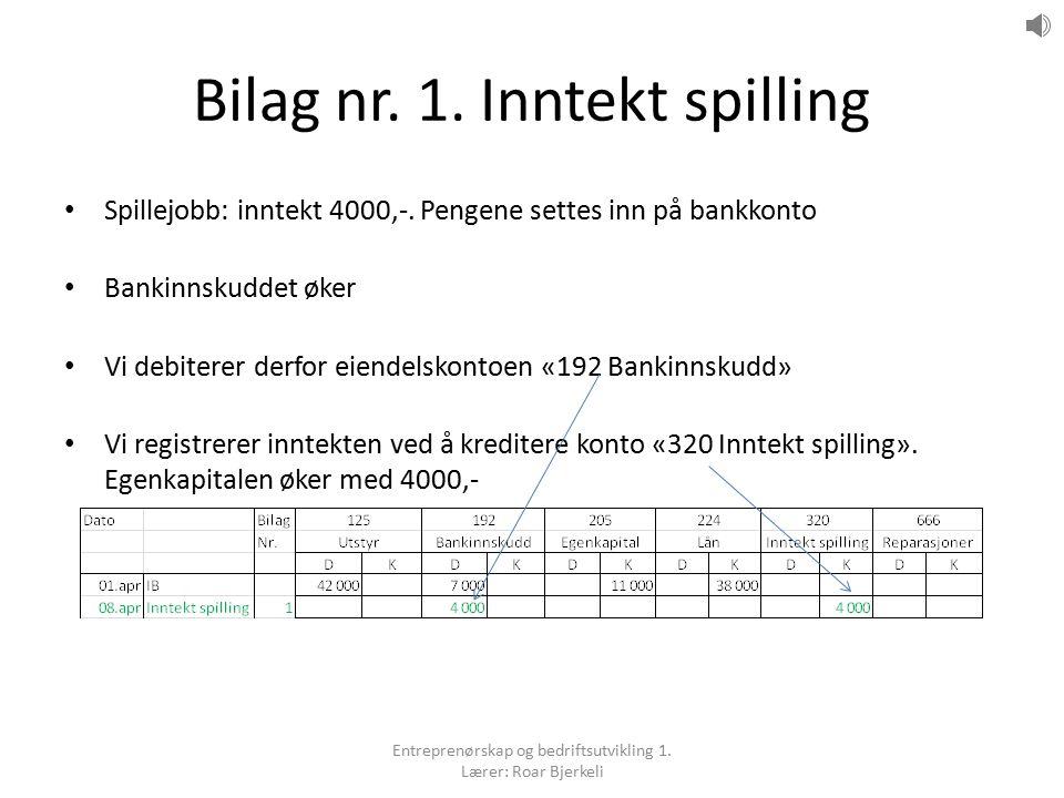 Bilag nr. 1. Inntekt spilling Spillejobb: inntekt 4000,-. Pengene settes inn på bankkonto Bankinnskuddet øker Vi debiterer derfor eiendelskontoen «192