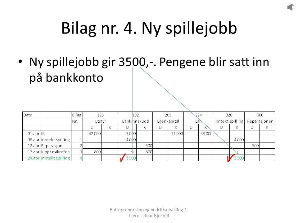 Bilag nr. 4. Ny spillejobb Ny spillejobb gir 3500,-. Pengene blir satt inn på bankkonto Entreprenørskap og bedriftsutvikling 1. Lærer: Roar Bjerkeli