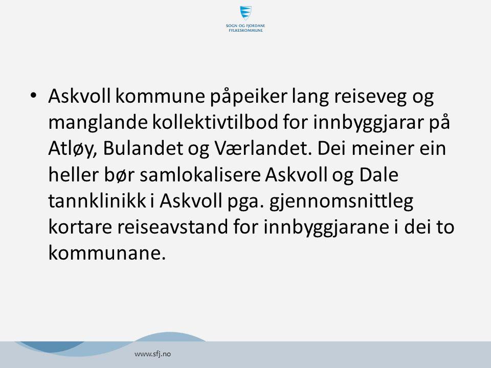 Askvoll kommune påpeiker lang reiseveg og manglande kollektivtilbod for innbyggjarar på Atløy, Bulandet og Værlandet.
