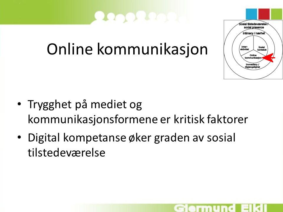 Online kommunikasjon Trygghet på mediet og kommunikasjonsformene er kritisk faktorer Digital kompetanse øker graden av sosial tilstedeværelse