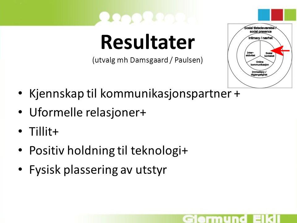 Resultater (utvalg mh Damsgaard / Paulsen) Kjennskap til kommunikasjonspartner + Uformelle relasjoner+ Tillit+ Positiv holdning til teknologi+ Fysisk plassering av utstyr